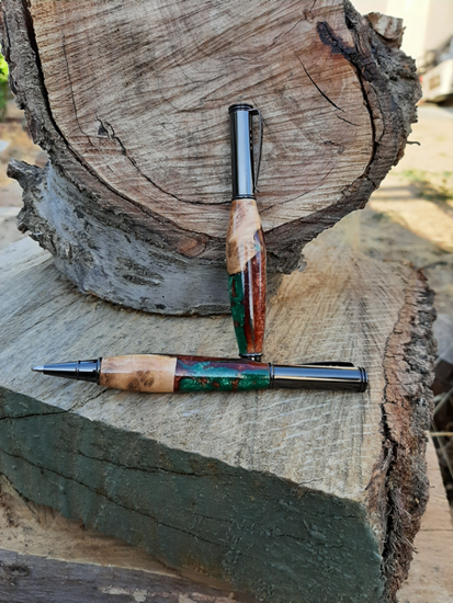 Picture of Olive wood Burl & Resin Editor Pen